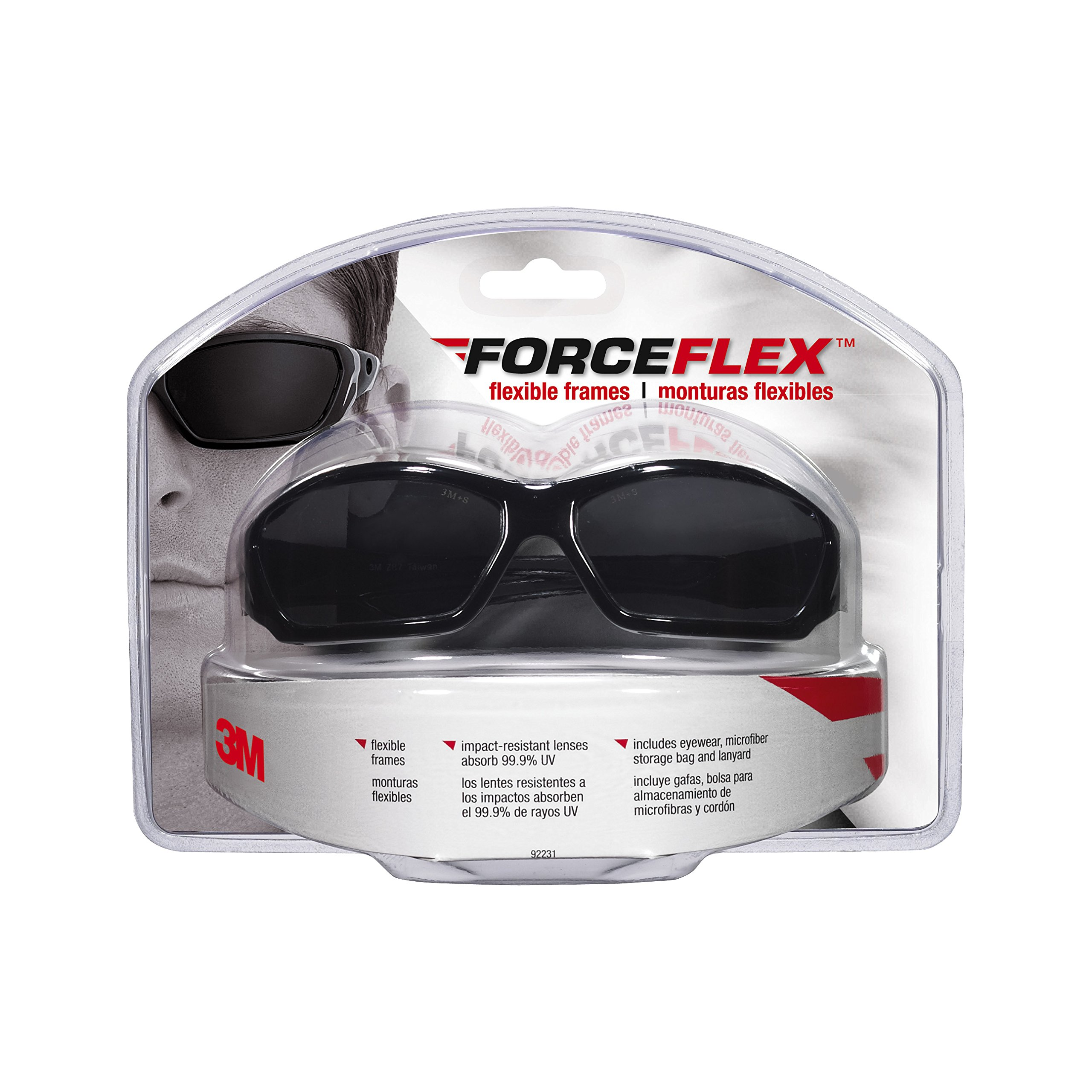 3M 92231-80025 ForceFlex Flexible Safety Eyewear with Gray Lens and Black Full Frame