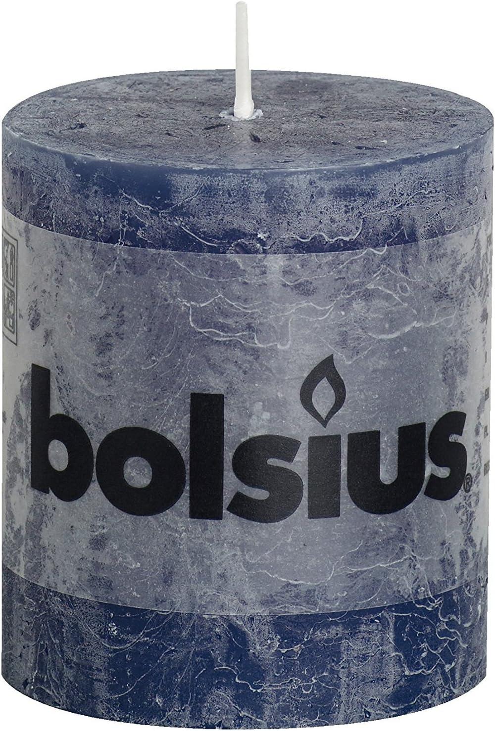 dunkelblau 6 St/ück bolsius 103867590365 Rustik Stumpenkerze 13 x 7 cm