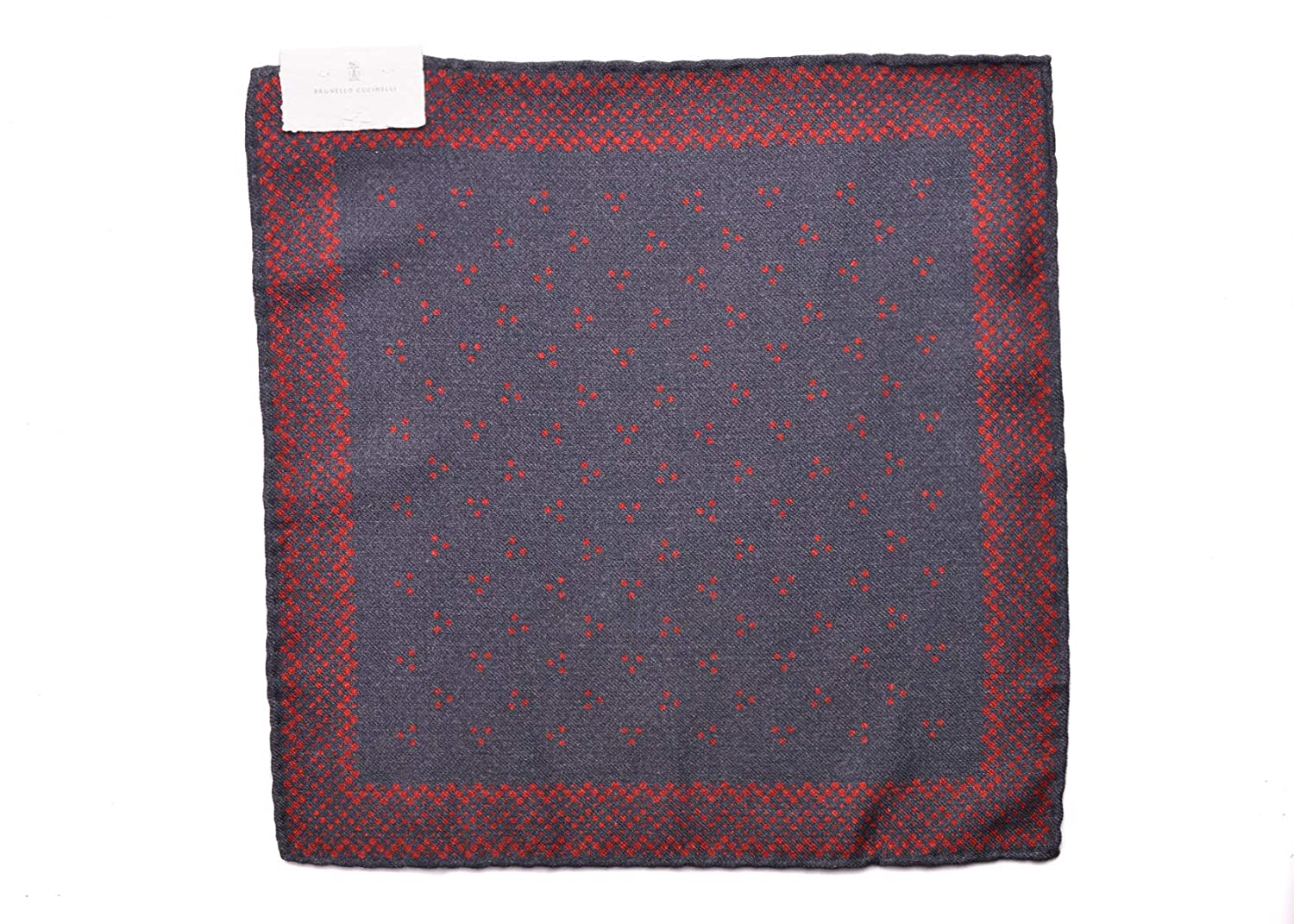 Brunello Cucinelli Mens Red Black Dotted Pocket Square One Size~Retail$225