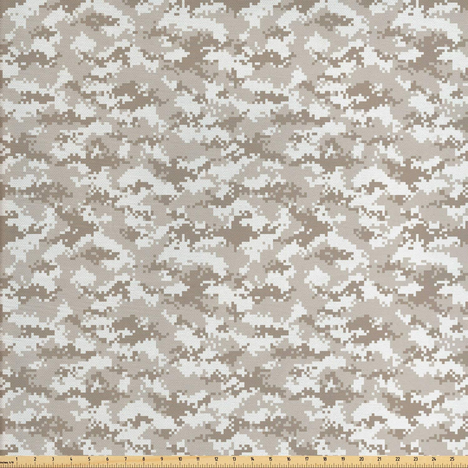 Ambesonne Camo Fabric by The Yard, Modern Repetitive Abstract Spots and in Pixel Art in Neutral Tones, Decorative Fabric for Upholstery and Home Accents, 1 Yard, Tan Dust