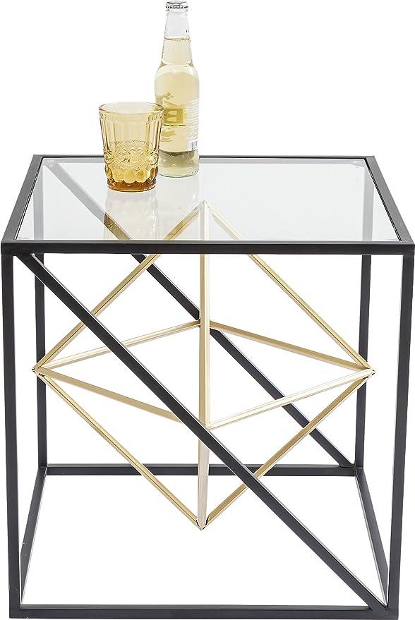 Kare Beistelltisch Prisma, Kleiner, Edler Couchtisch aus Glas, Tisch mit  Metall-Streben, (H/B/T) 45x45x45cm, Andere, Gold