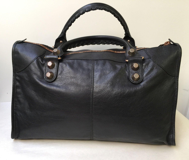 dd3dadc79d Amazon.com: Balenciaga Black Lambskin Rose Gold Hardware RGGH Work size  Satchel Bag: Health & Personal Care