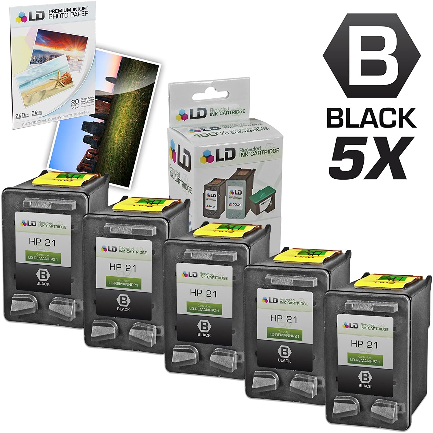 LD Remanufactured Ink Cartridge Replacement for HP 21 C9351AN (Black, 5-Pack)
