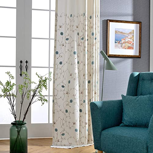 VOGOL Simple Grommet Curtains Floral Embroidered Pattern Blue Elegant Faux Linen Window Treatment for Bedroom Living Room,2 Panels, 60×106