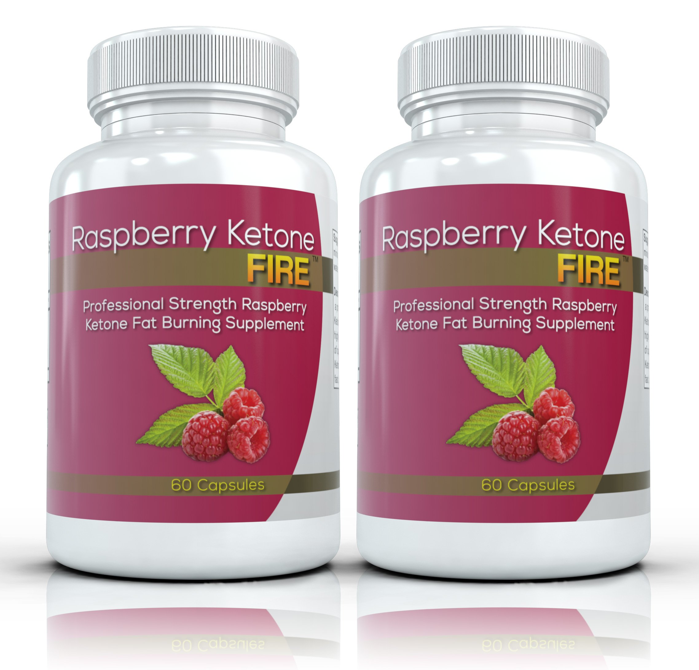 Raspberry Ketone FIRE (2 Bottles) - Professional Strength Raspberry Ketones Fat Burning Formula. The New All Natural Weight Loss Supplement. 250mg (60 Capsules per Bottle) by Raspberry Ketone Fire Professional Strength Fat Burner