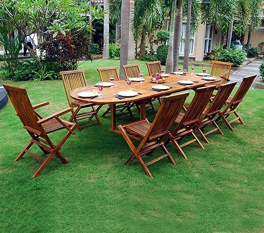 Offerte Tavoli Da Giardino In Teak.Tavolo Con Sedie Da Giardino Misura Grande 10 Posti In Teak