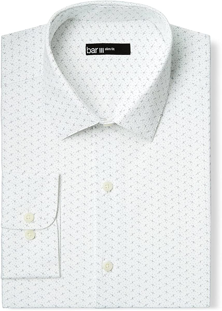 Bar III Slim Fit Easy Care Short Sleeve Button Down Shirt