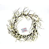 Winter White Faux Berry Wreath. Lights Up. 20 FREE LED Lights. Beads on Paper Covered Wire Frame. 48cm Diameter.