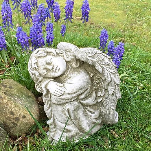 Antikas - Estatua ángel de Piedra - ángel durmiendo como decoración jardín - Figuras ángel Patio terraza: Amazon.es: Jardín