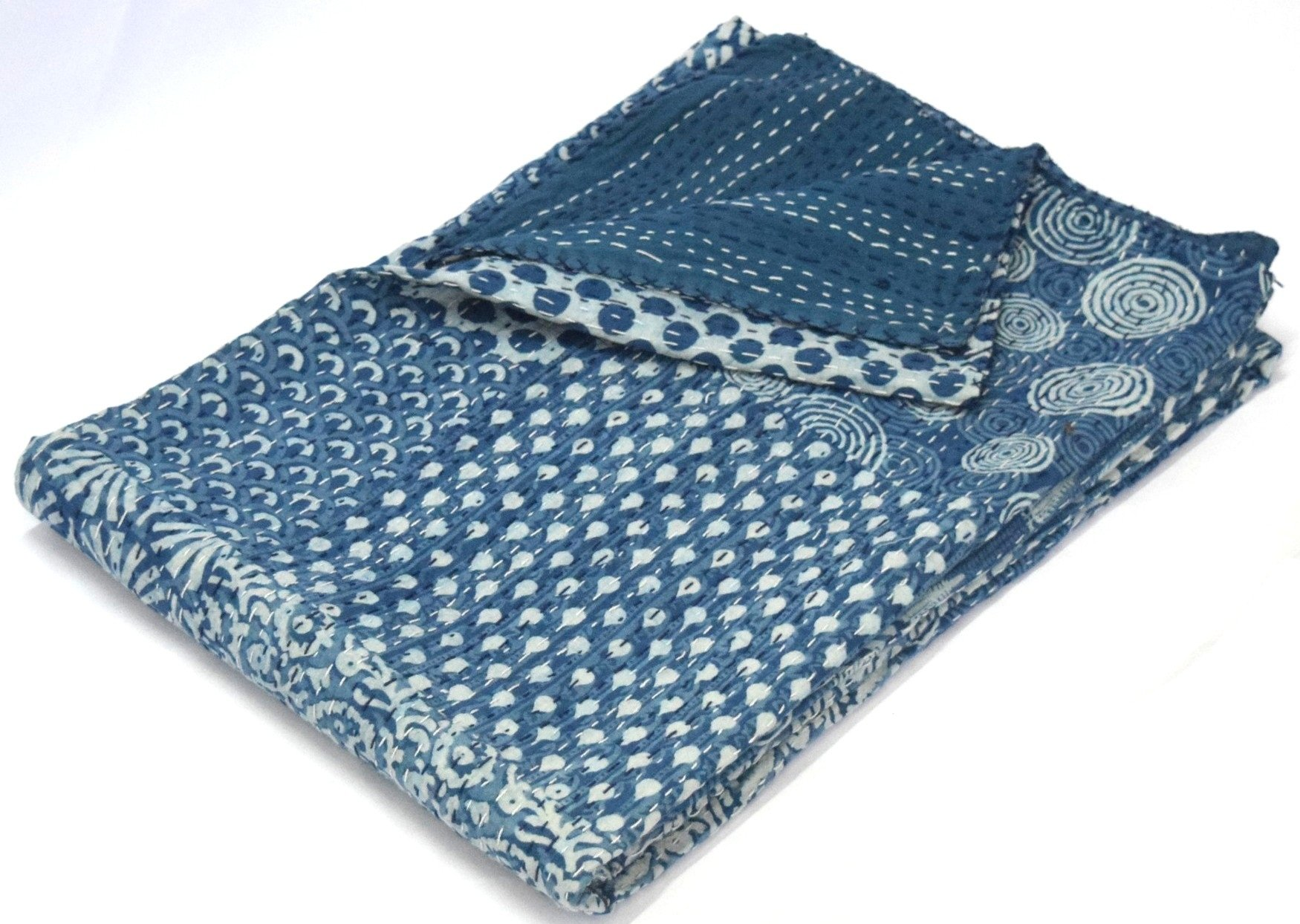Hand Block Print Bedcover Twin Size Blue Indigo Kantha Quilt Indigo Print Bedcover Indian Kantha Quilt Block Print Bedcover Patchwork Kantha Bedcover kusum creation by kusum creation (Image #2)