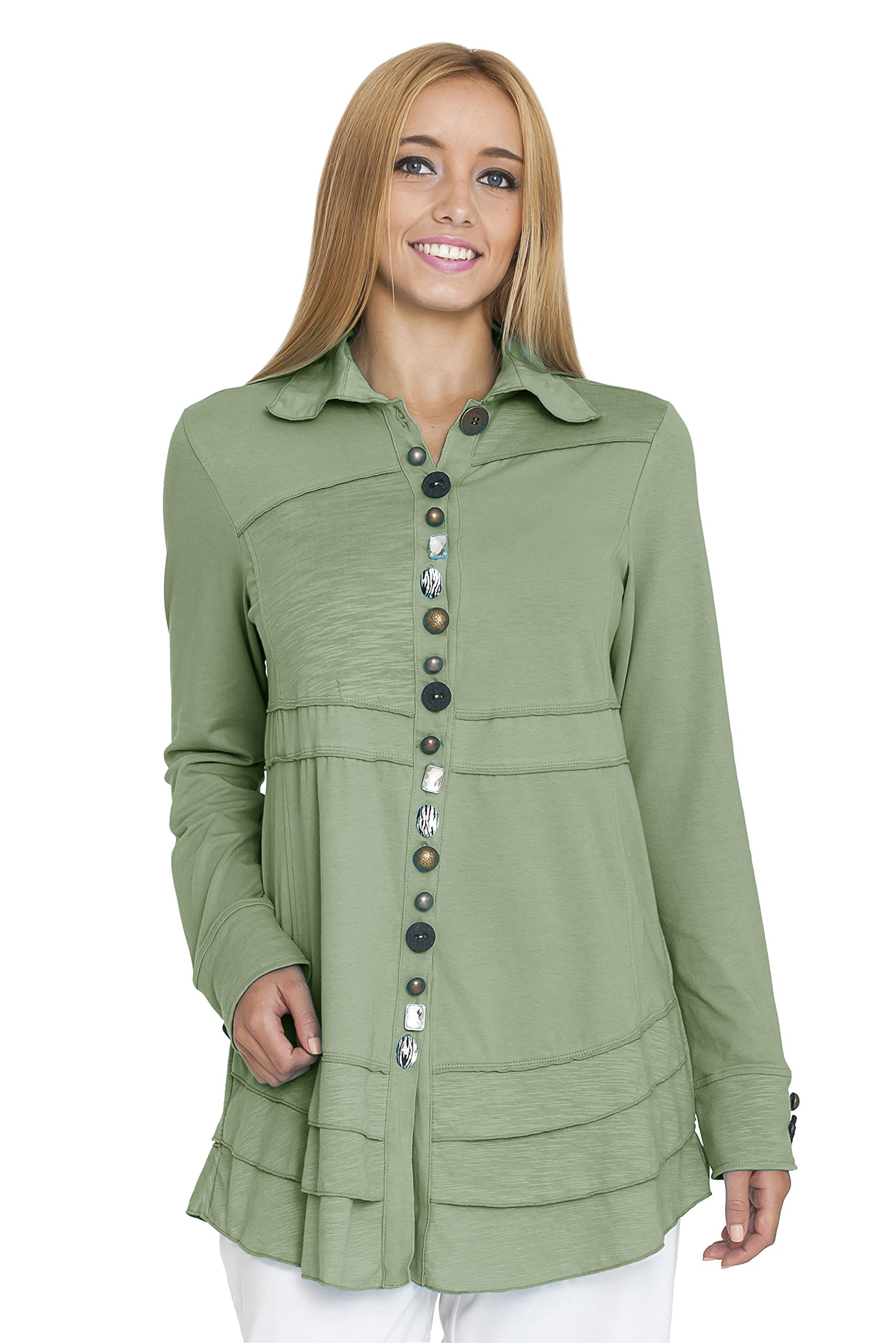 Neon Buddha Women's Sage Shirt, Recycled Sage, Small by Neon Buddha
