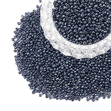 PandaHall Elite About 1900 Pcs 8//0 Glass Seed Beads Opaque Black Round Pony Bead Mini Spacer Beads Diameter 3mm for Jewelry Making