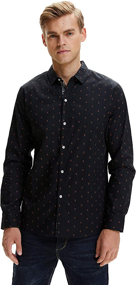 SSLR Camisas Slim Fit Hombre Manga Larga Estampada Ancla Casual (Small, Negro): Amazon.es: Ropa y accesorios
