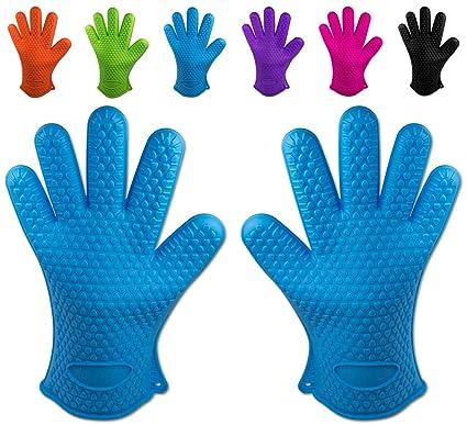 cerca autentico abbastanza economico migliore selezione di Belmalia 2 guanti da forno in silicone per cucina e griglia, kit, coppia,  presine, guanti da forno Azzurro Blu