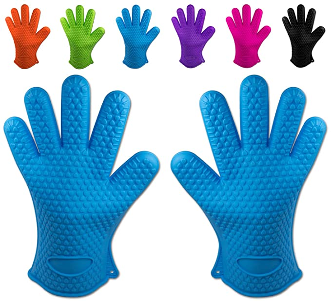 Belmalia 2 Backhandschuhe, Silikon, NEU: noch hitzebeständiger, Grillhandschuhe, Topflappen, Ofenhandschuhe Blau