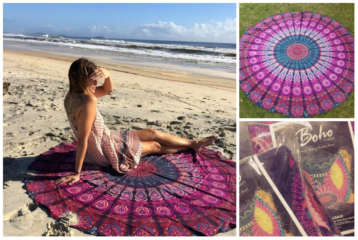 The Boho Street Branded Cotton Mandala Roundies, Beach Throw, Indian Mandala Tapestry, Yoga Mat, Picnic Mat, Table Throw by The Boho Street