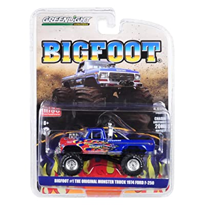 1974 Ford F-250 Monster Truck Bigfoot #1 The Original Blue with Flames Limited Edition to 4,600 Pieces Worldwide 1/64 Diecast Model Car by Greenlight 51282: Toys & Games