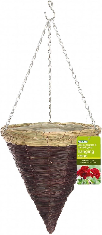 Gardman R266 Black Seagrass and Natural Grass Cone Hanging Basket, 14 Diameter