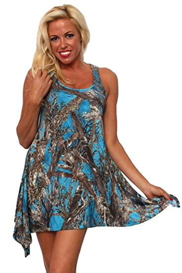 6062c9b3025a8 Women's Camo Flare Dress Made in USA True Timber: Blue at Amazon ...
