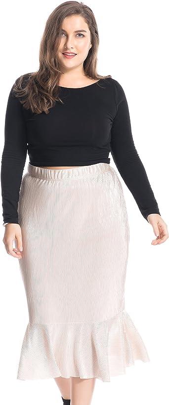 Chicwe Faldas Tallas Grandes Mujeres Cintura Elástica Falda ...