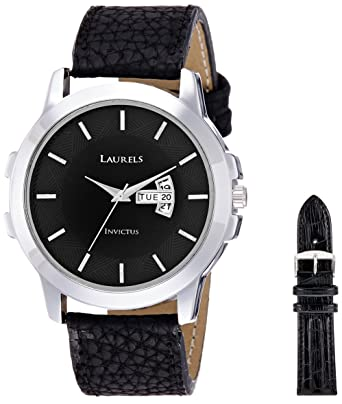 Laurels Invictus Black Dial Day and Date Function Wrist Watch With Additional Strap - For Men Men at amazon