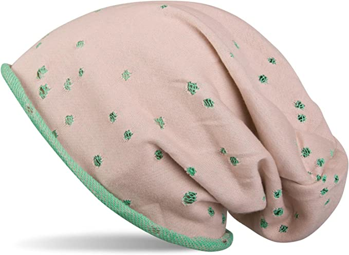Bonnet avec trou Tour Motif vintage Slouch Longbeanie Tricot Fin Unisexe