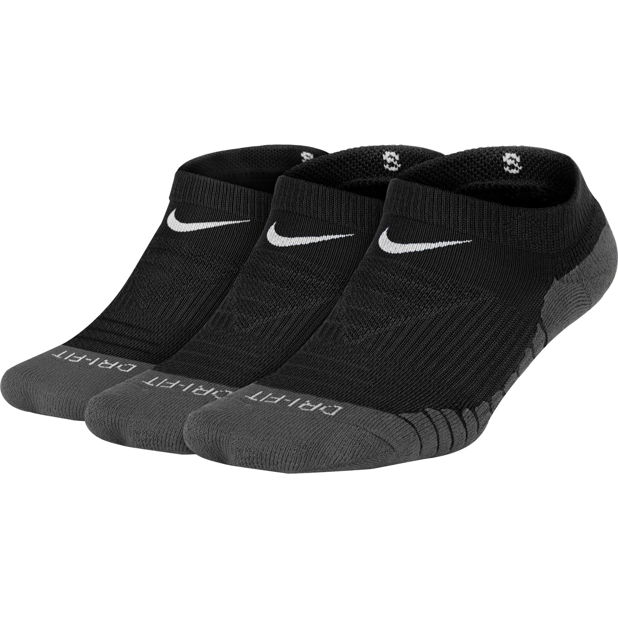 Nike Kids' Dry Cushion No Show Socks (3 Pair), Girl's & Boy's Socks with Impact Absorption, Black/Anthractie/White, S by Nike