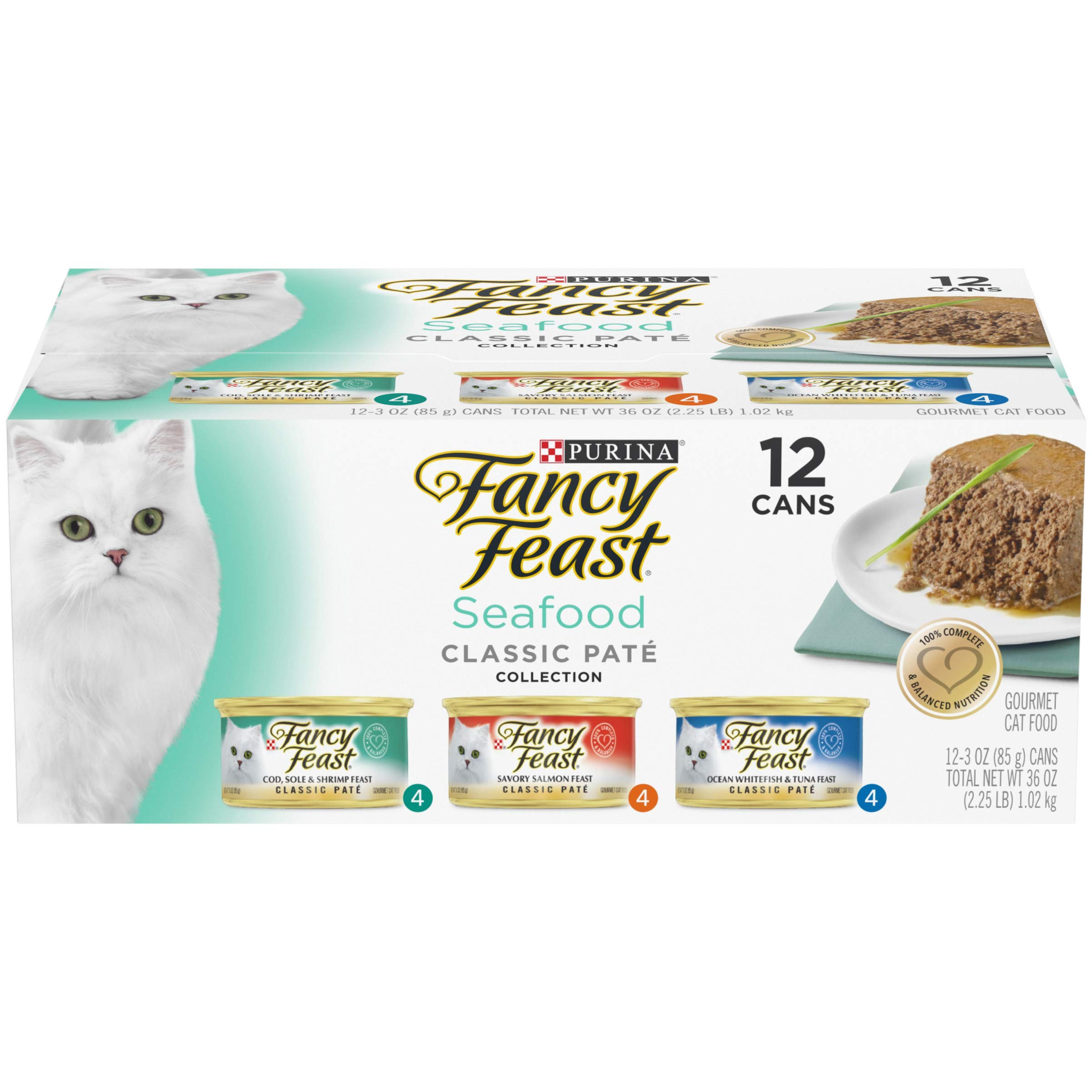 ba9c105a9 Purina Fancy Feast Grain Free Pate Wet Cat Food Variety Pack; Seafood  Classic Pate Collection