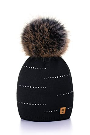 a024e9ba44d MFAZ Morefaz Ltd Women Ladies Winter Beanie Hat Knitted with Small Crystals Large  Pom Pom Cap Ski Snowboard Hats (Black)  Amazon.co.uk  Clothing