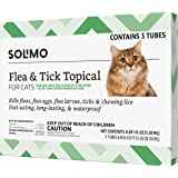 Amazon Brand - Solimo Flea and Tick Topical Treatment for Cats (over 1.5 pounds), 3 Dose/6 Dose