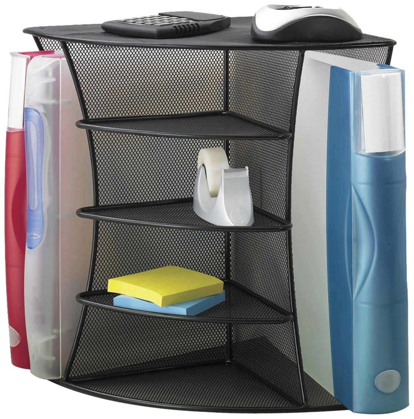 Safco Products 3261BL Onyx Mesh Desktop Corner Organizer, Black (4 Organizers)