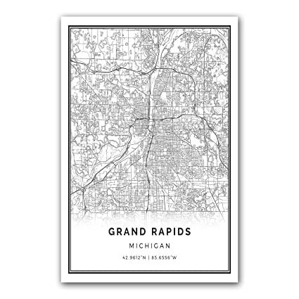 Squareious Grand Rapids Map Poster Print
