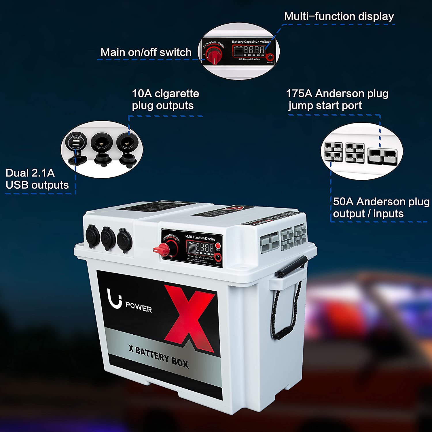Li Power Multi-Function high-Capacity Heavy-Duty Battery Box Family emergen Fishing Hunting Outdoor Portable Solar Generator USB Anderson Plug Interface Outdoor Camping Power Without Battery