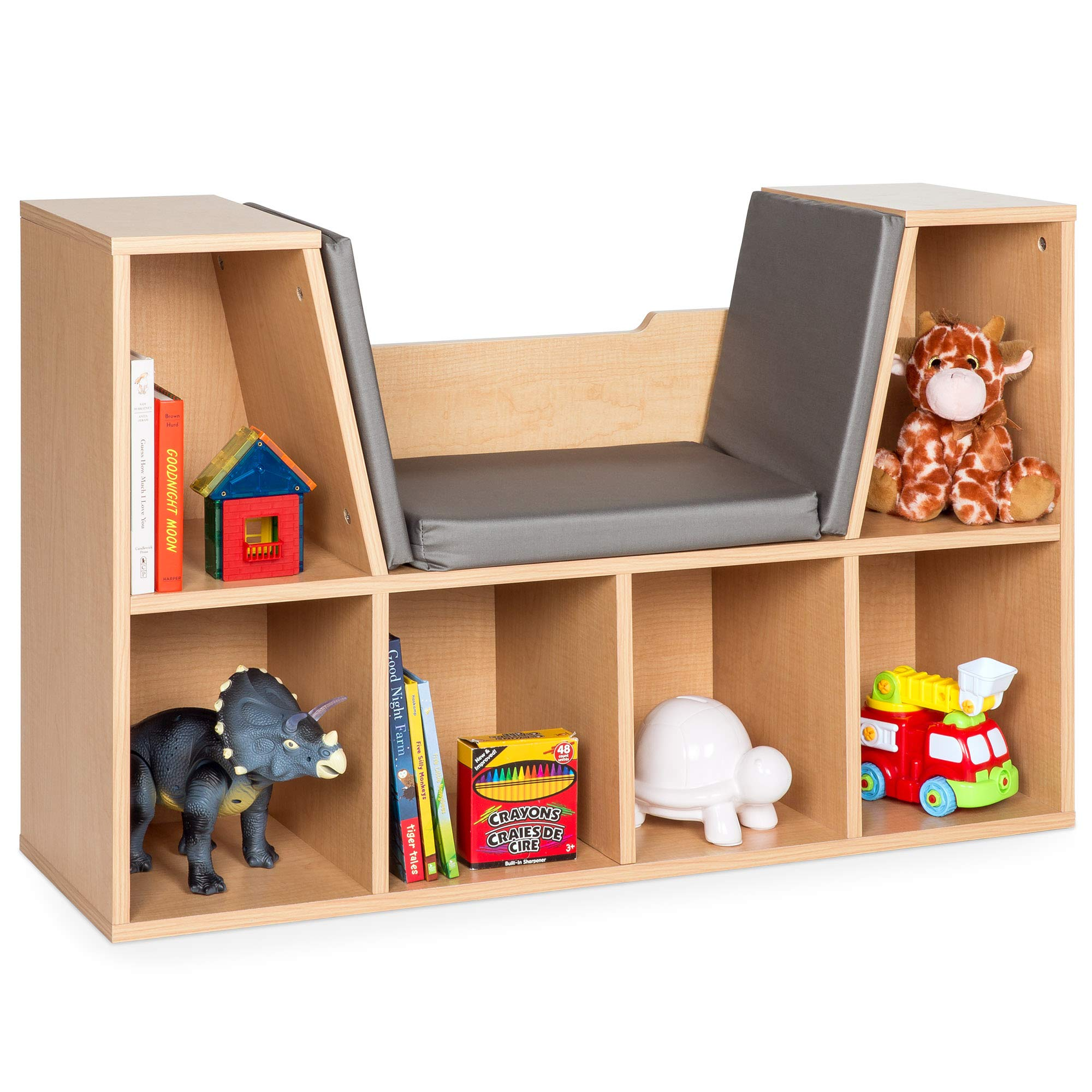 Best Choice Products Multi-Purpose 6-Cubby Kids Bedroom Storage Organizer Bookcases Shelf Furniture Decoration with Cushioned Reading Nook, Brown by Best Choice Products