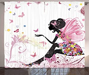 "Ambesonne Fantasy Curtains, Fairy Girl with Wings in a Floral Dress Fantasy Garden Flying Butterflies, Living Room Bedroom Window Drapes 2 Panel Set, 108"" X 84"", Pink White"