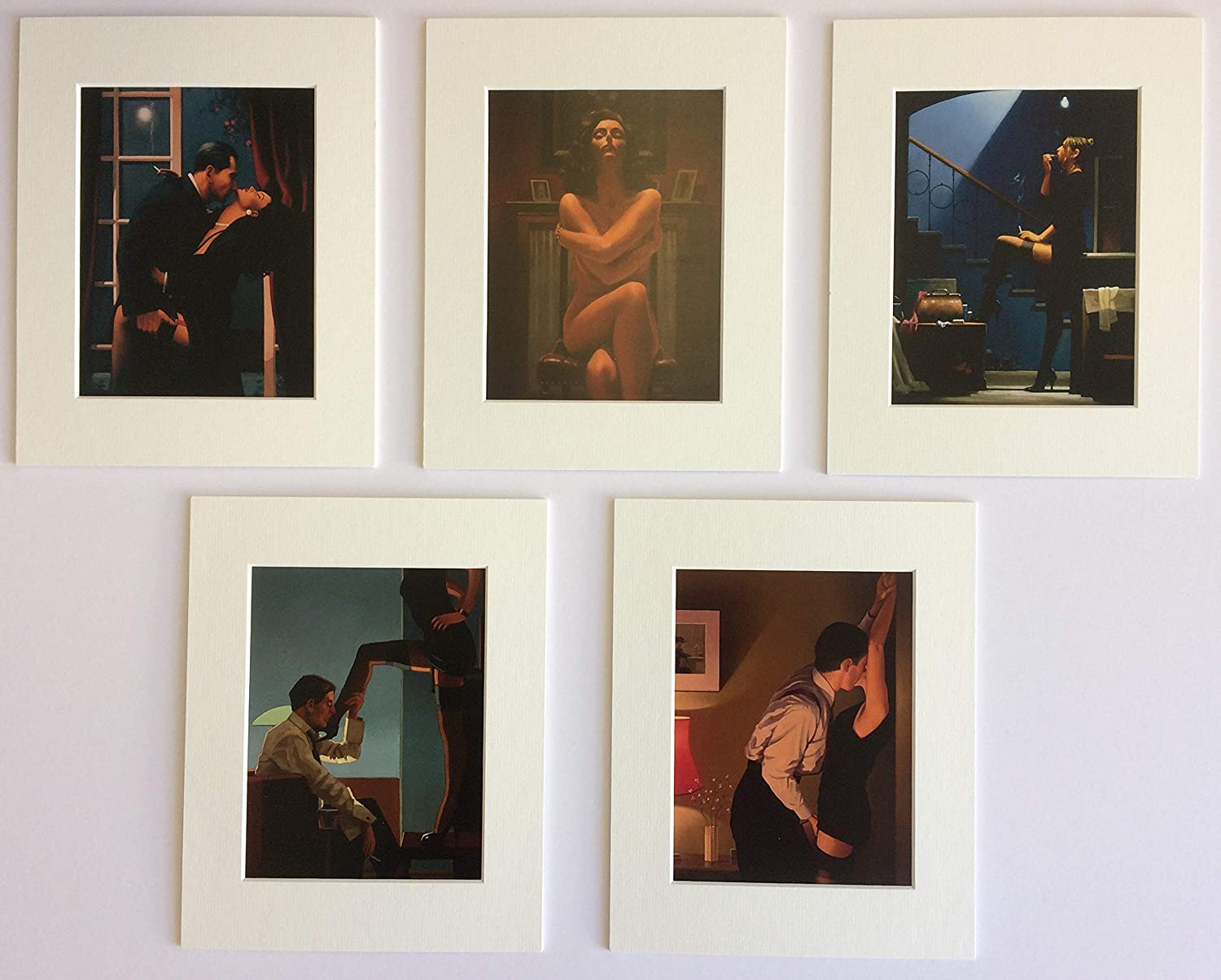 Jack Vettriano Beach Collection Set of 5 Mounted Prints Genuine 2019 NEW