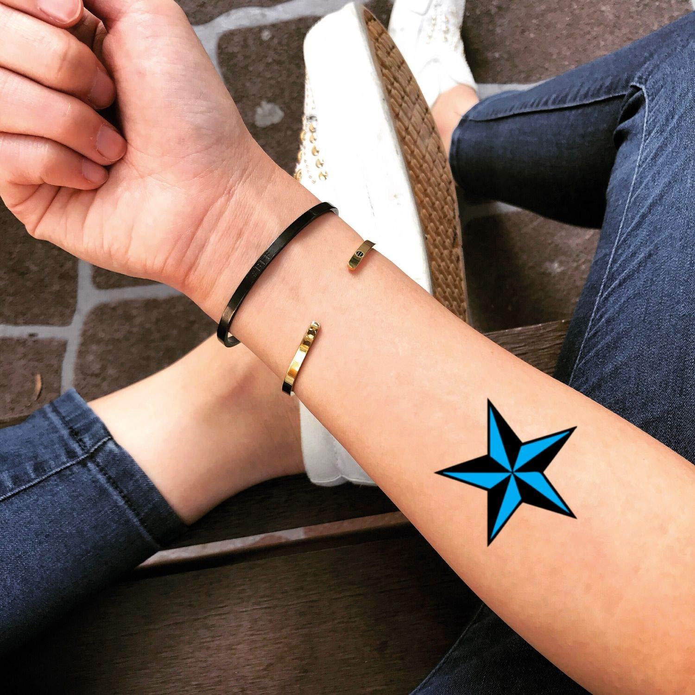 Tatuaje Temporal de Estrella negra y azul (2 Piezas) - www.ohmytat ...