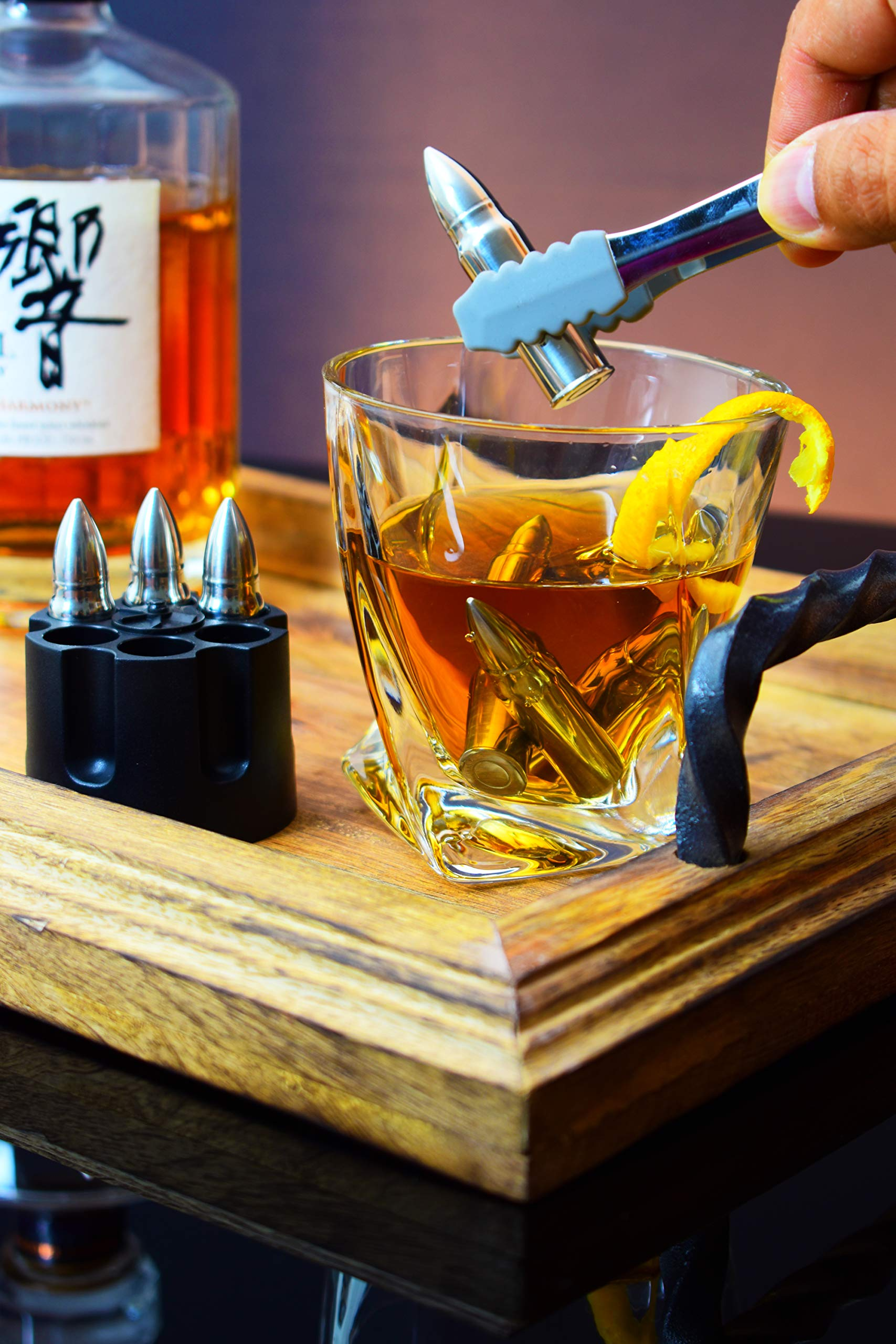 Twist Whiskey Glass and XL Bullet Stones Gift Set - Large Crystal Drinking Cup, 6 Chilling Rocks, Tongs, Revolver Base In Fancy Wooden Box | Cool Gift for Men Dad Boyfriend on Anniversary Retirement by De Crown (Image #6)