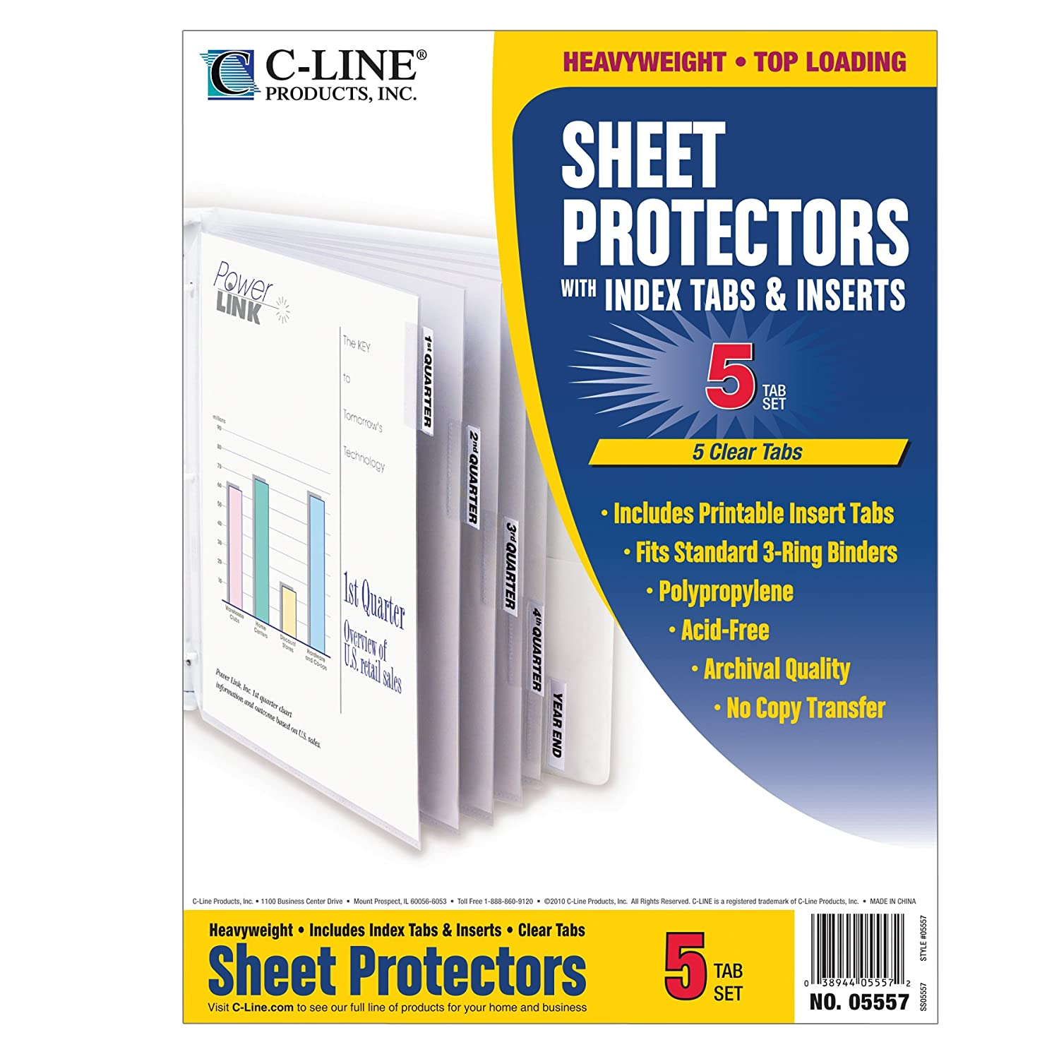 C-Line Polypropylene Sheet Protector with Index Tabs, Assorted Color Tabs, 11 x 8.5 Inches, One 8-Tab Set (05580) C-Line Products Inc.