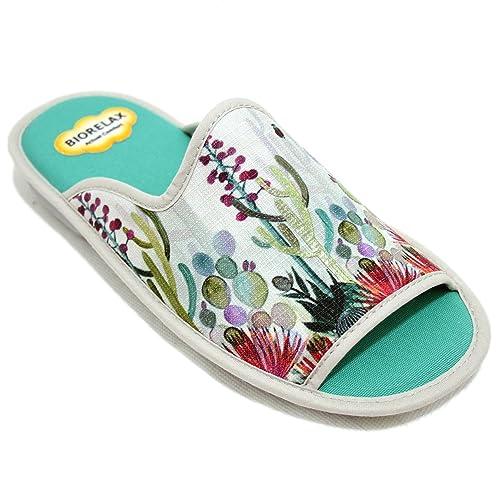 Cosdam 4022 - Zapatillas de Estar por Casa de Mujer de Verano Biorelax con Cactús y Flores de Tonos Verdes: Amazon.es: Zapatos y complementos