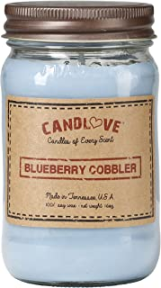 """product image for Candlove """"Blueberry Cobbler"""" Scented 16oz Mason Jar Candle 100% Soy Made in The USA"""