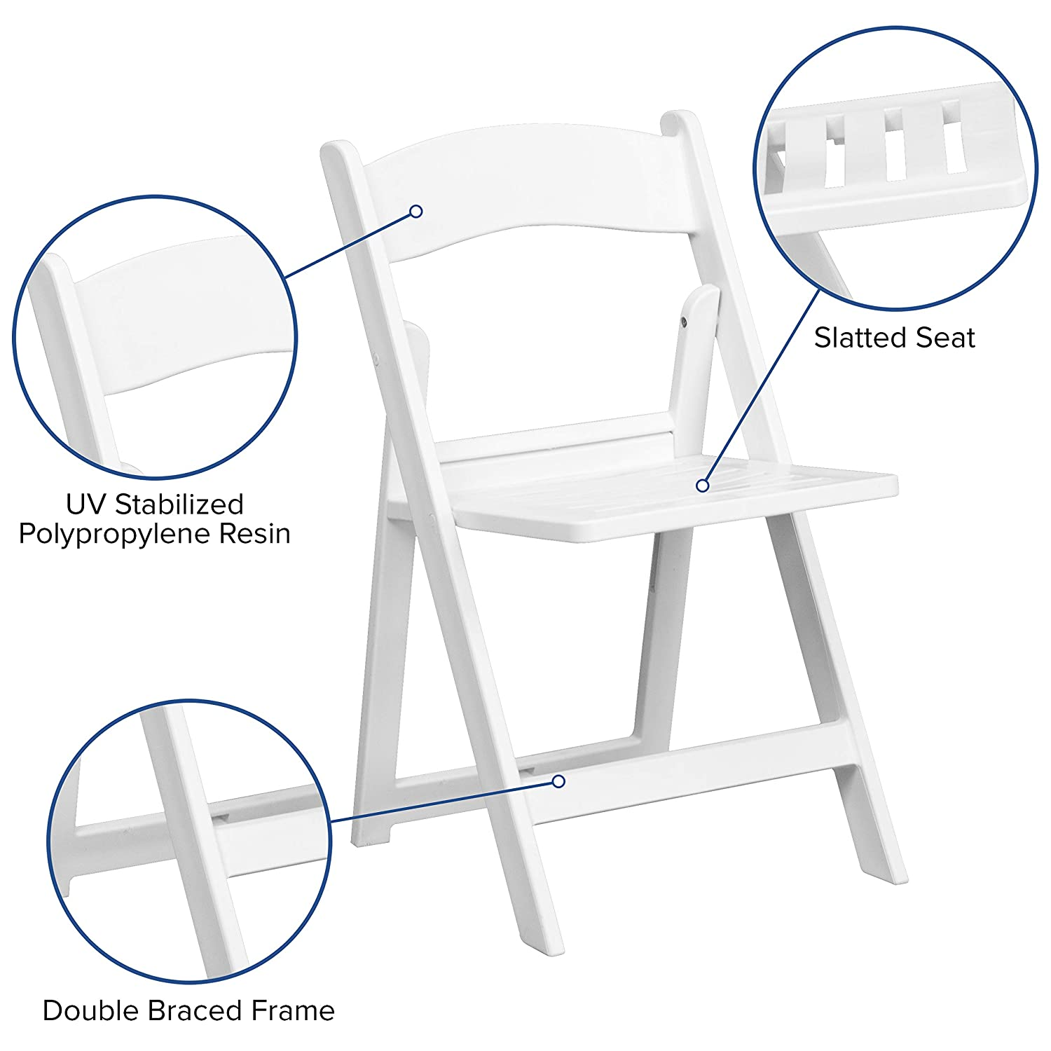 Flash Furniture 4 Pk. HERCULES Series 1000 lb. Capacity White Resin Folding Chair with Slatted Seat