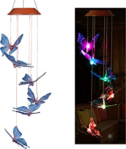 xxschy LED Solar Butterfly Wind Chimes Outdoor - Waterproof Solar Powered LED Changing Light Color 6 Butterflies Mobile Romantic Wind-Bell for Home, Party, Festival Decor, Night Garden Decoration