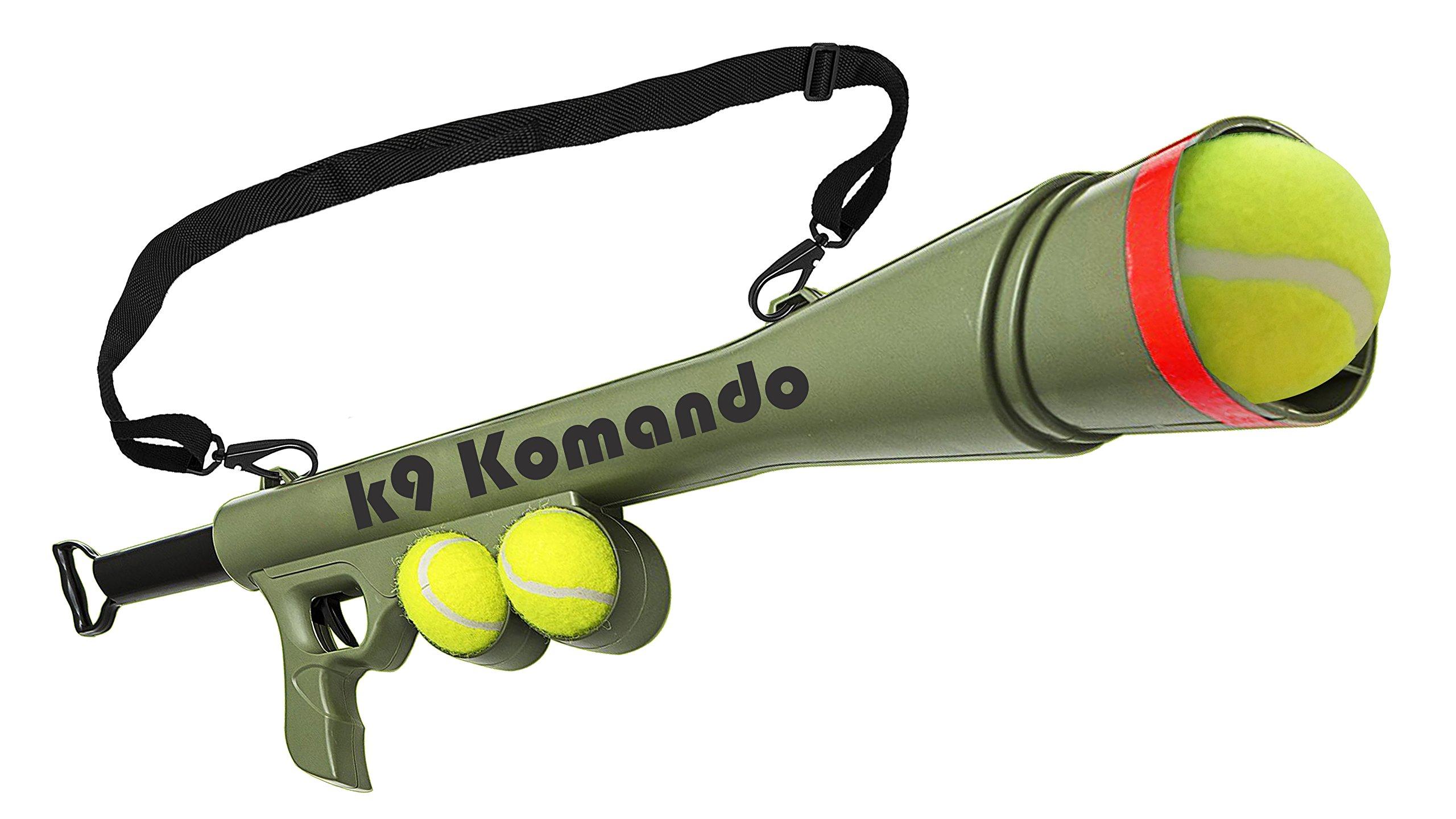 Dog Komando K-9 Tennis Ball Launcher Gun includes 2 Squeaky Balls Best Pet Dog Toy Ball Thrower - Semi Automatic Blast