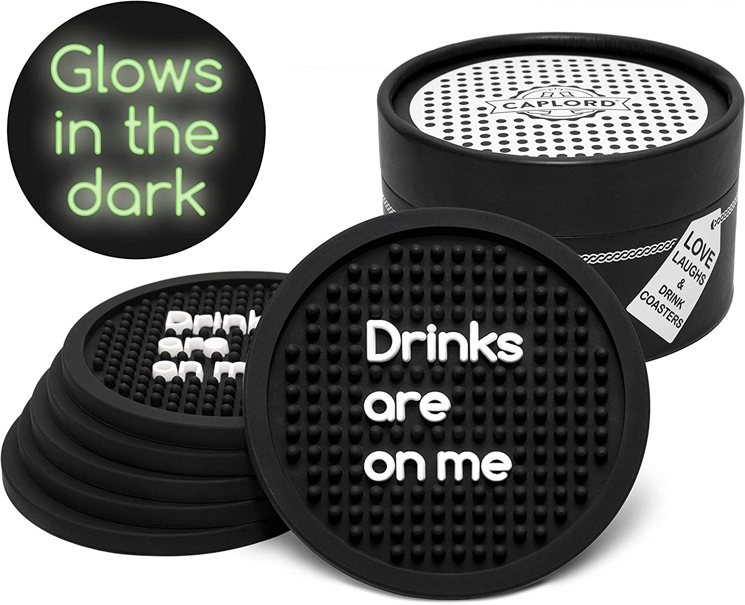 Coasters for Drinks, Dishwasher Safe, Patio Outdoor Silicone Absorbent Black Drink Coaster |Set of 6| Nonstick Neutral Absorbing, Funny Quotes Unique Hostess Gifts for Women Kitchen (Drinks are on me)