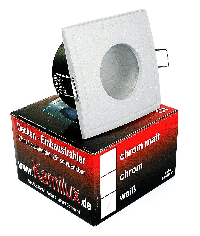 Lovely 230V Hochwertiger LED Badezimmer Einbaustrahler Eckig, Inkl. 5 Watt  Leuchtmittelu003d 50W Helligkeit, In Warmweiss, Feuchtraumstrahler In WEISS,  IP65, Bad, ...
