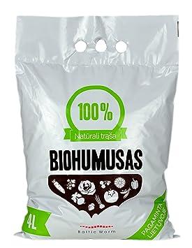 Fertilizantes orgánicos de gusanos Baltic Worm, multiusos, natural para lumbricultura, reconstituyente del suelo, humus de lombriz roja de 4 litros: ...