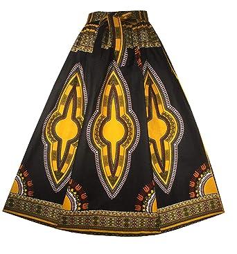7a5b4d60968 Decoraapparel Women s African Dashiki Maxi Skirt Long High Waist Skirt One  Size (Black Light Yellow
