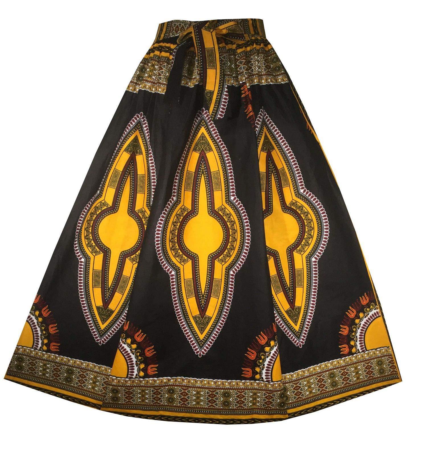 Decoraapparel Women's African Dashiki Maxi Skirt Long High Waist Skirt One Size (Black Light Yellow Thick Fabric 126'' Sweep 42'' Long)