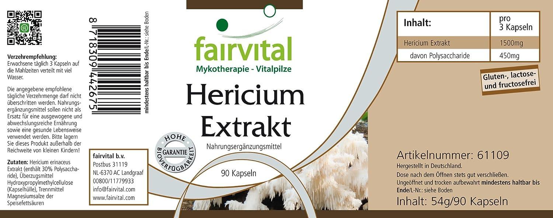 Hericium extraen 500 mg - 1 mes - VEGANO - ALTA DOSIS - 90 cápsulas - extracto de hongos estandarizado al 30% de polisacáridos: Amazon.es: Salud y cuidado ...